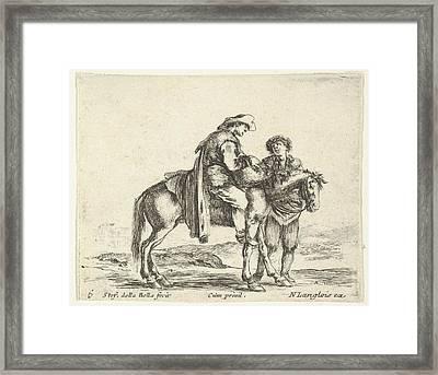 Plate 6 A Peasant On Horseback Framed Print by Stefano della Bella