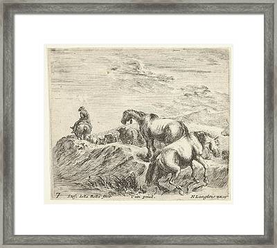 Plate 7 Two Horses Ascending The Bank Framed Print by Stefano della Bella