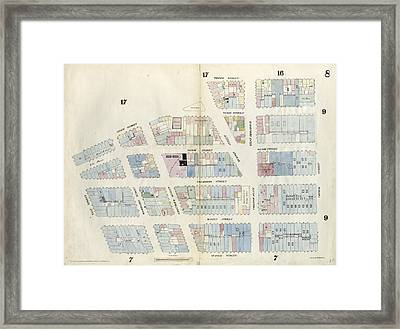 Plate 8 Map Bounded By Duane Street, Hudson Street Framed Print by Litz Collection