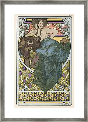Plate Forty Seven From The Book Documents Decoratifs Framed Print by Alphonse Marie Mucha