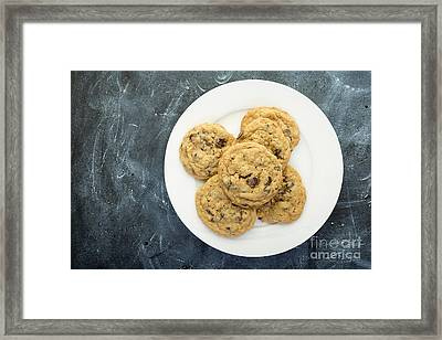Plate Of Chocolate Chip Cookies Framed Print by Edward Fielding