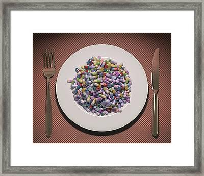 Plate Pills And Capsules Framed Print by Ktsdesign