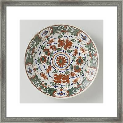 Plate Polychrome Faience Painted With Flower Decoration Framed Print by Quint Lox