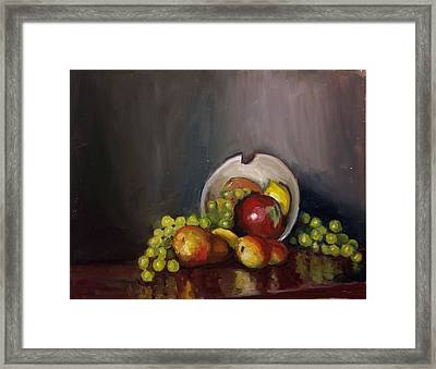 Plate With Fruit Framed Print by Nicolas Bouteneff