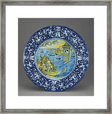 Plate With Hero And Leander Unknown Faenza Framed Print