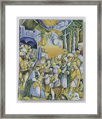 Plate With The Adoration Of Jesus By The Magi Framed Print