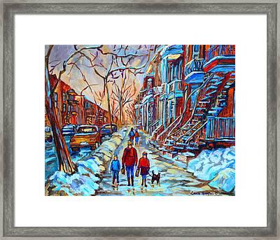 Plateau Montreal Street Scene Framed Print