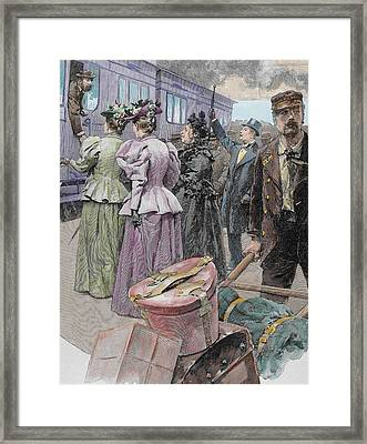 Platform At A Railway Station, Late 19th Century Engraving Later Colouration Framed Print