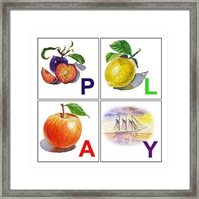 Play Art Alphabet For Kids Room Framed Print by Irina Sztukowski