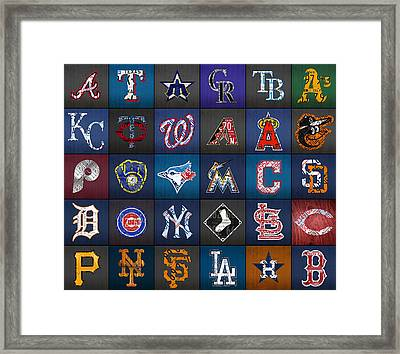 Play Ball Recycled Vintage Baseball Team Logo License Plate Art Framed Print