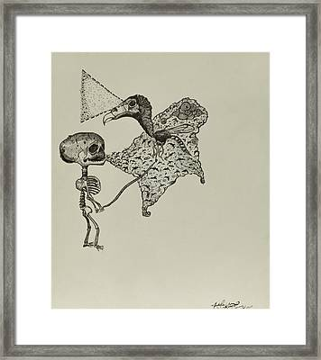 Play Date With The Vulture Fly Framed Print by Nickolas Kossup