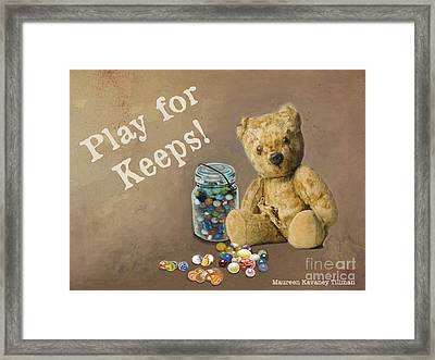 Play For Keeps - Marbles Framed Print by Maureen Tillman