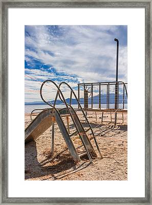 Play Time Is Over Slide Playground Framed Print by Scott Campbell