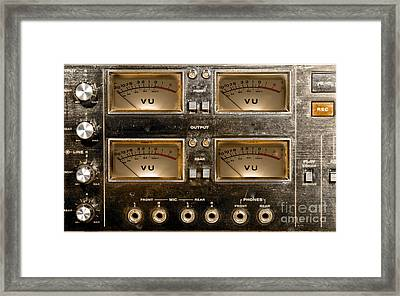 Framed Print featuring the photograph Playback Recording Vu Meters Grunge by Gunter Nezhoda
