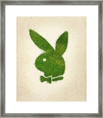 Playboy Grass Logo Framed Print by Aged Pixel