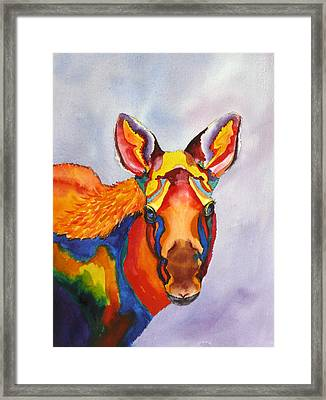 Playful Alaska Moose Framed Print by Karen Mattson