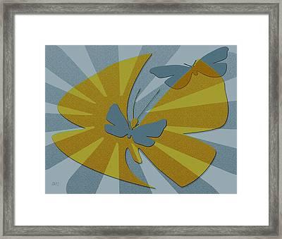 Playful Butterflies In Blue And Yellow Framed Print by Ben and Raisa Gertsberg