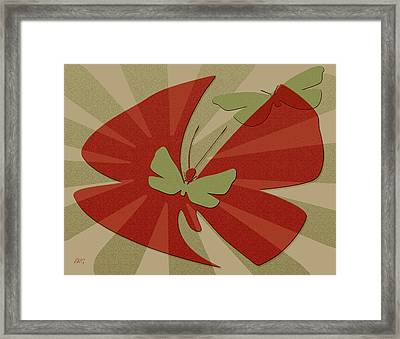 Playful Butterflies In Red And Green Framed Print by Ben and Raisa Gertsberg