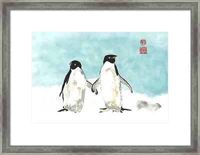 Playful Penguins  Framed Print