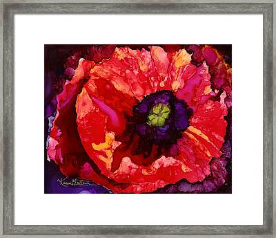 Playful Poppy Framed Print by Karen Mattson