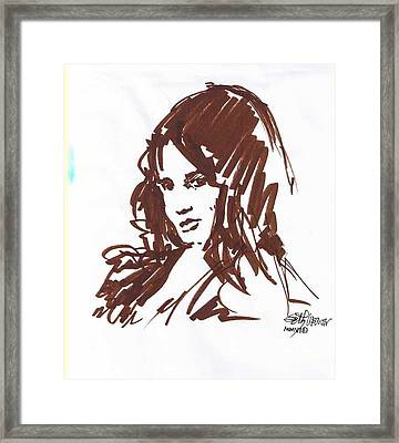 Framed Print featuring the drawing Playful by Seth Weaver