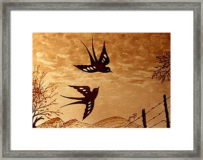Framed Print featuring the painting Playful Swallows Original Coffee Painting by Georgeta  Blanaru