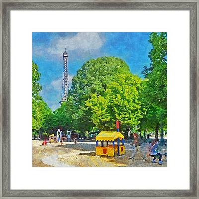 Playground On The Champ De Mars And The Eiffel Tower Framed Print
