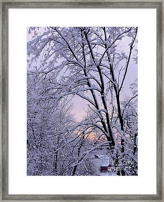 Playhouse Through Snow Framed Print