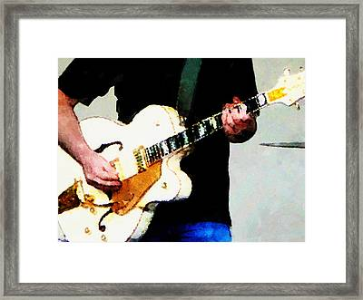 Playing A White Guitar Framed Print