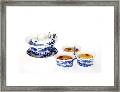 Playing Among Blue-and-white Porcelain Little People On Food Framed Print by Paul Ge