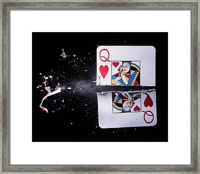 Playing Card Trick Shot Framed Print by Herra Kuulapaa � Precires