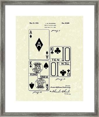 Playing Cards 1869 Patent Art Framed Print by Prior Art Design