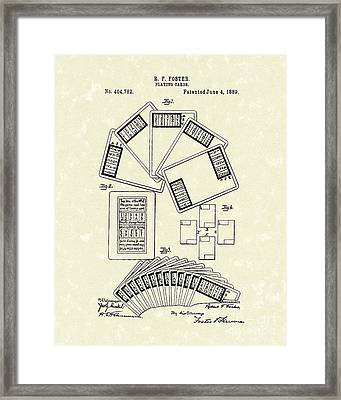 Playing Cards 1889 Patent Art Framed Print by Prior Art Design