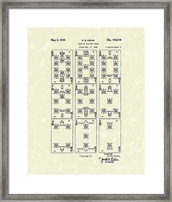 Playing Cards 1939 Patent Art Framed Print by Prior Art Design