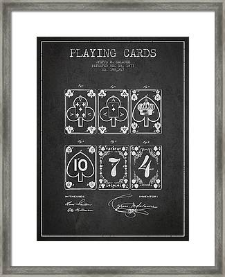 Playing Cards  Patent Drawing From 1877 - Dark Framed Print by Aged Pixel