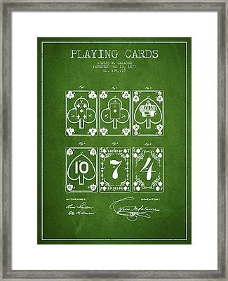 Playing Cards  Patent Drawing From 1877 - Green Framed Print by Aged Pixel