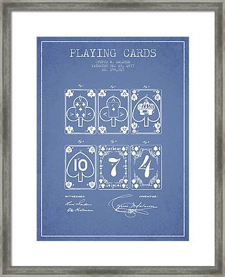 Playing Cards  Patent Drawing From 1877 - Light Blue Framed Print by Aged Pixel
