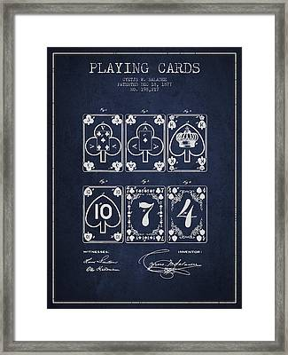 Playing Cards  Patent Drawing From 1877 - Navy Blue Framed Print by Aged Pixel