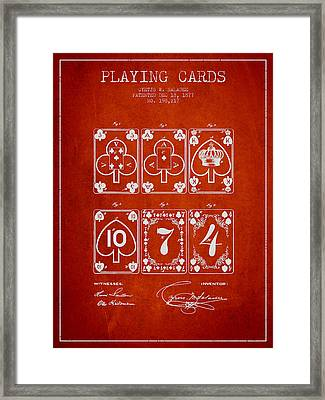 Playing Cards  Patent Drawing From 1877 - Red Framed Print by Aged Pixel