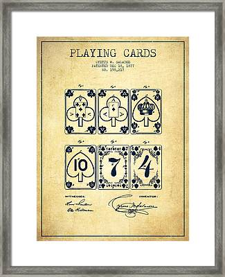 Playing Cards  Patent Drawing From 1877 - Vintage Framed Print by Aged Pixel