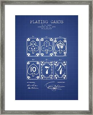 Playing Cards  Patent From 1877 - Blueprint Framed Print by Aged Pixel