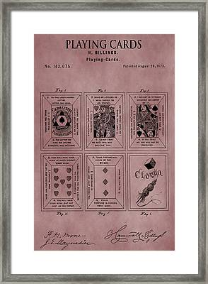 Playing Cards Patent Red Framed Print by Dan Sproul