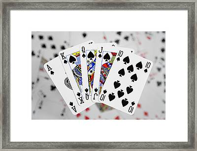 Playing Cards - Royal Flush Framed Print by Natalie Kinnear