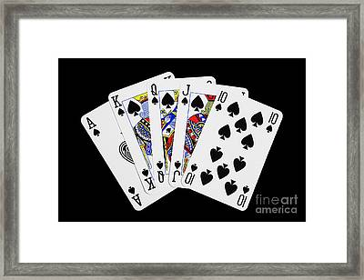 Playing Cards Royal Flush On Black Background Framed Print