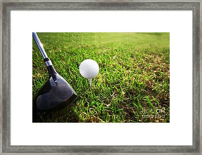 Playing Golf. Club And Ball On Tee Framed Print by Michal Bednarek