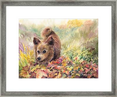 Playing In The Leaves Framed Print by Marilyn Young