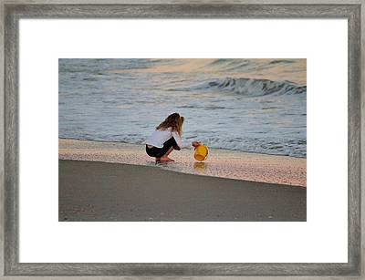 Playing In The Ocean Framed Print by Cynthia Guinn
