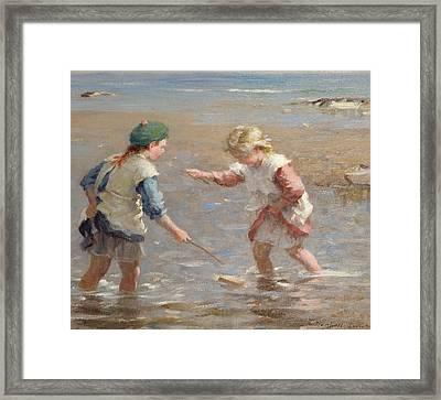 Playing In The Shallows Framed Print by William Marshall Brown
