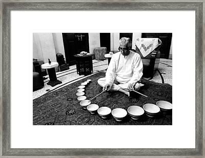 Playing Jal Tarang Framed Print by Jagdish Agarwal