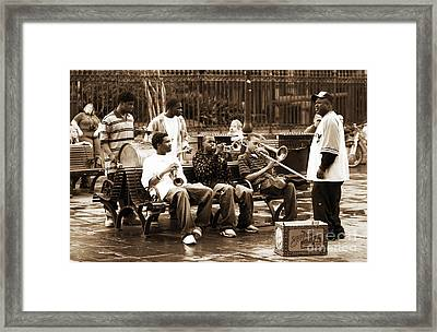 Playing Jazz In New Orleans Framed Print by John Rizzuto
